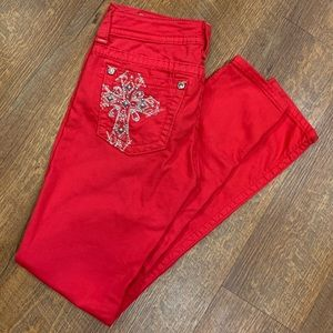 Miss Me Red Embellished Cross Skinny Jeans Size 27